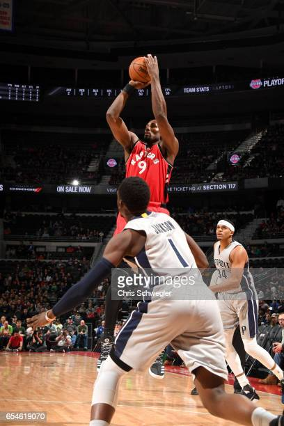 Serge Ibaka of the Toronto Raptors shoots the ball against the Detroit Pistons on March 17 2017 at The Palace of Auburn Hills in Auburn Hills...