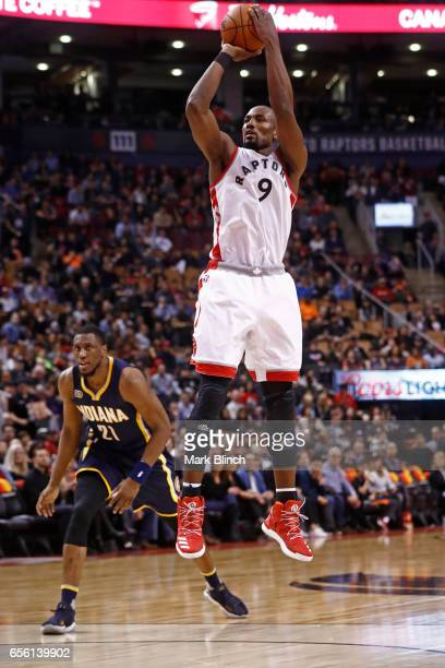 Serge Ibaka of the Toronto Raptors shoots the ball against the Indiana Pacers on March 19 2017 at Air Canada Centre in Toronto Ontario Canada NOTE TO...