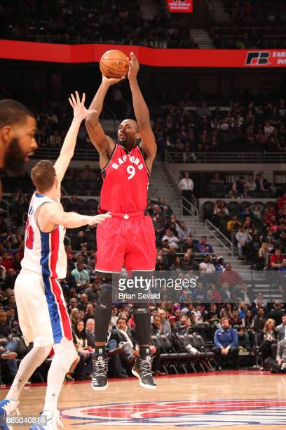 Serge Ibaka of the Toronto Raptors shoots the ball against the Detroit Pistons on April 5 2017 at The Palace of Auburn Hills in Auburn Hills Michigan...