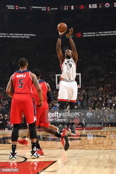 Serge Ibaka of the Toronto Raptors shoots the ball against the Washington Wizards during the game on March 1 2017 at the Air Canada Centre in Toronto...