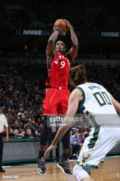 Serge Ibaka of the Toronto Raptors shoots the ball during a game against the Milwaukee Bucks on March 4 2017 at BMO Harris Bradley Center in...