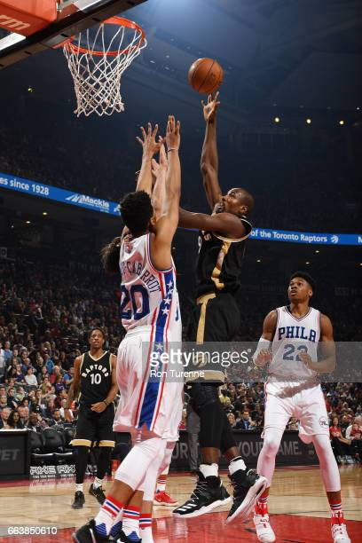 Serge Ibaka of the Toronto Raptors shoots the ball during a game against the Philadelphia 76ers on April 2 2017 at the Air Canada Centre in Toronto...