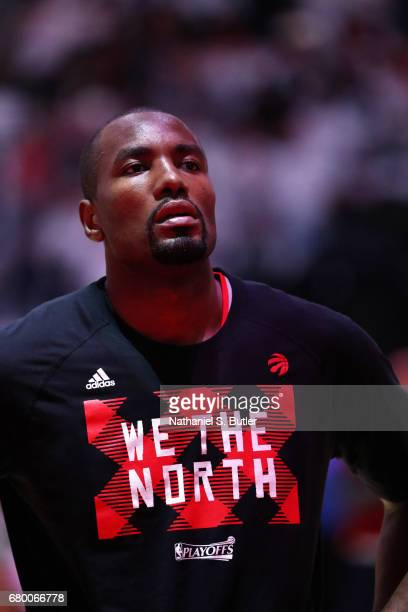 Serge Ibaka of the Toronto Raptors stand for a moment of silence for the National Anthem before the game against the Cleveland Cavaliers in Game Four...