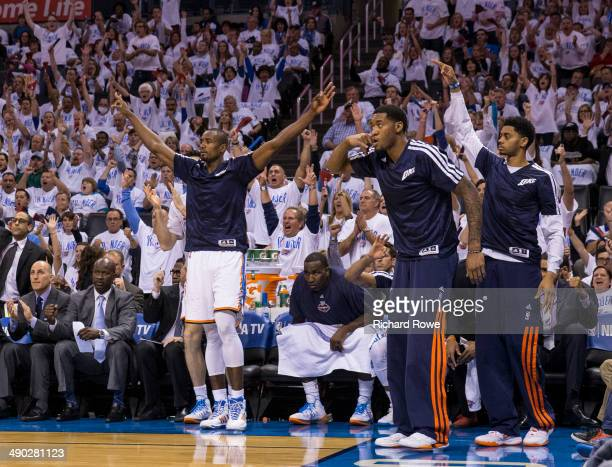 Serge Ibaka Perry Jones and Jeremy Lamb of the Oklahoma City Thunder celebrate during Game 5 of the Western Conference Semifinals against the Los...