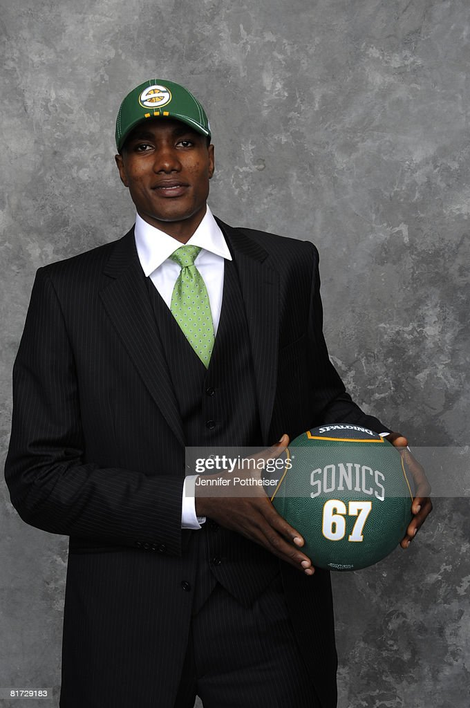 Serge Ibaka, selected twenty fourth overall by the Seattle Supersonics poses for a portrait backstage during the 2008 NBA Draft on June 26, 2008 at the WaMu Theatre at Madison Square Garden in New York City.