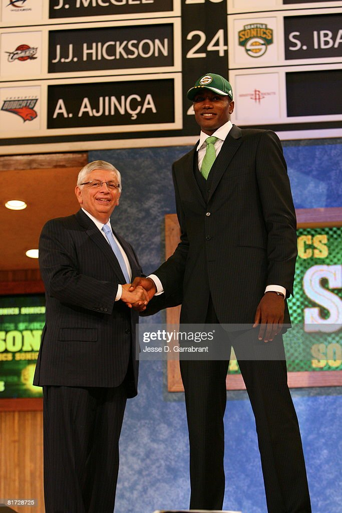 Serge Ibaka shakes hands with NBA Commissioner David Stern after being selected 24th by the Seattle SuperSonics during the 2008 NBA Draft on June 26, 2008 at the WaMu Theatre at Madison Square Garden in New York City.