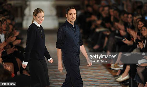 Serge Ruffieux and Lucie Meier appear on the catwalk following the Christian Dior Spring Summer 2017 Cruise collection at Blenheim Palace on May 31...
