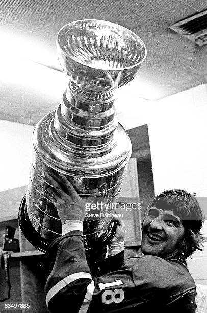 Serge Savard of the Montreal Canadiens celebrates Stanley Cup victory after defeating the Boston Bruins at Boston Garden