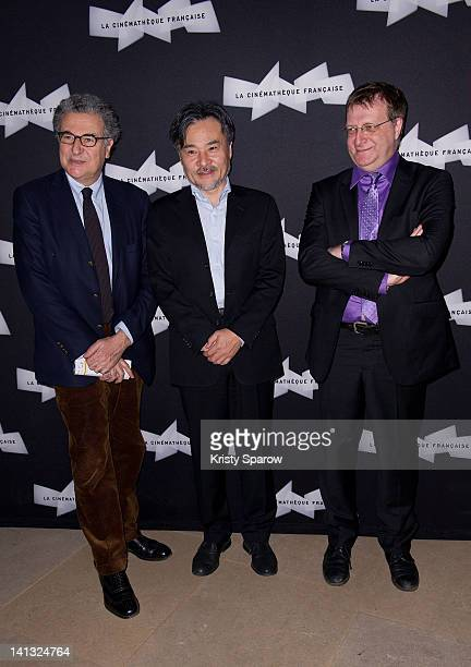 Serge Toubiana Kiyoshi Kurosawa and JeanFrancois Rauger attend the Kiyoshi Kurosawa retrospective opening at La Cinematheque on March 14 2012 in...