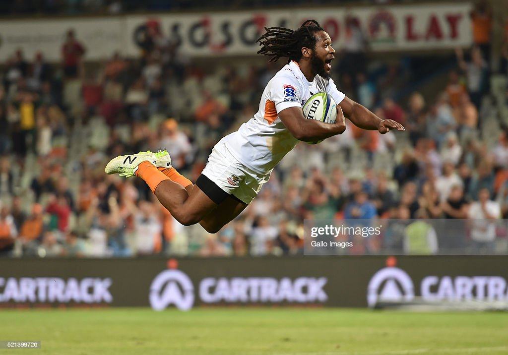 Sergeal Petersen of the Cheetahs during the Super Rugby match between Toyota Cheetahs and Sunwolves at Toyota Stadium on April 15 2016 in...
