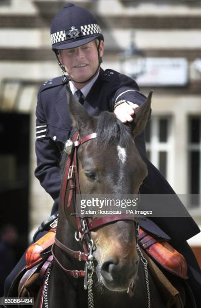 Sergeant Alistair Blamire with his horse Alamein who was back on duty at Great Scotland Yard after being seriously injured in riots outside Millwall...