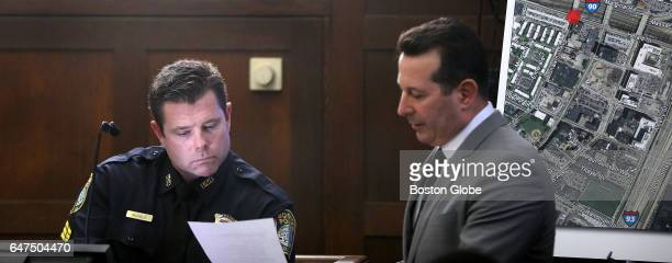 Sergeant Clifton McHale is questioned by defense attorney Jose Baez during the double murder trial of former New England Patriots tight end Aaron...
