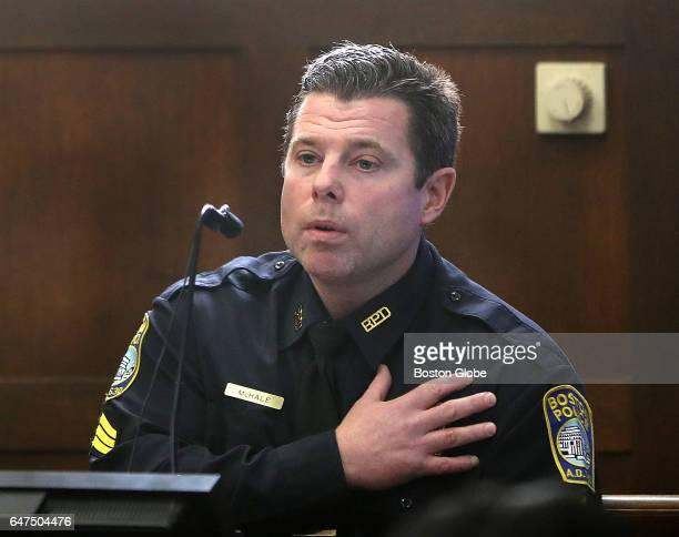 Sergeant Clifton McHale testifies during the double murder trial of former New England Patriots tight end Aaron Hernandez at Suffolk Superior Court...