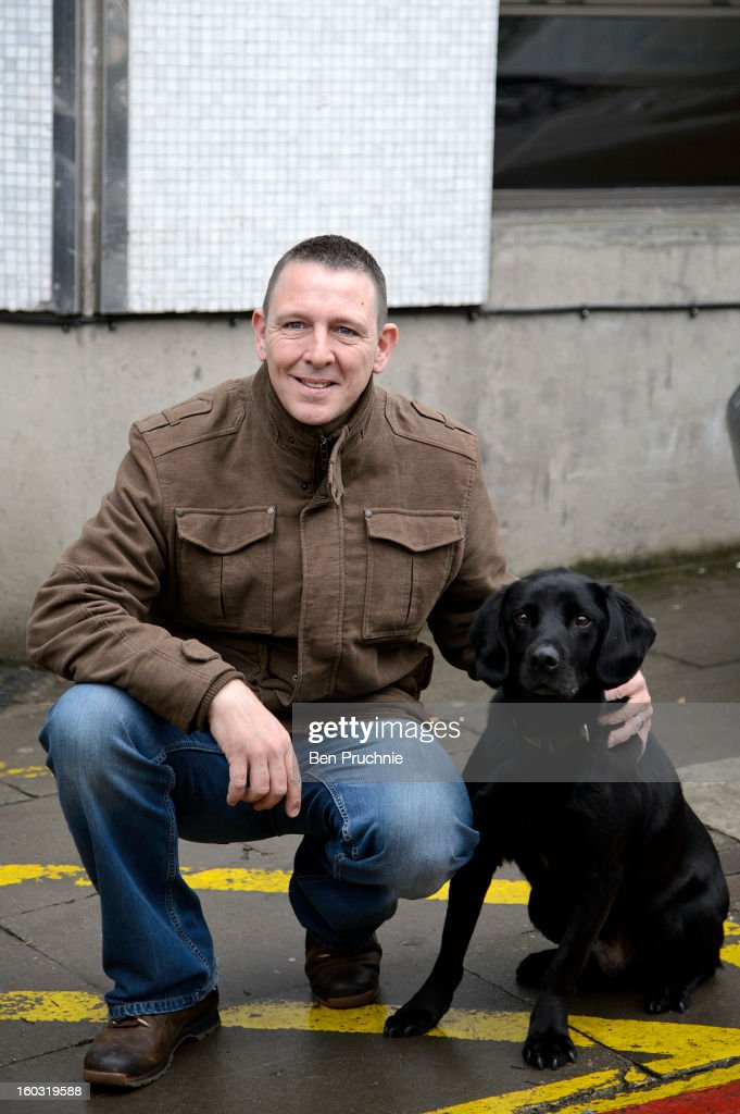 Sergeant Dave Heyhoe and Dickin Medal winning search dog Treo sighted arriving at ITV Studios on January 29, 2013 in London, England.
