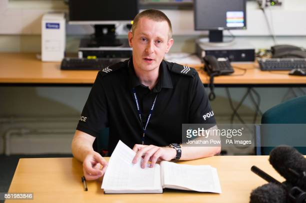 Sergeant Graeme Morgan of Durham Police speaks during a press conference at Bishop Auckland police station as he confirms the death of Duncan Munro...