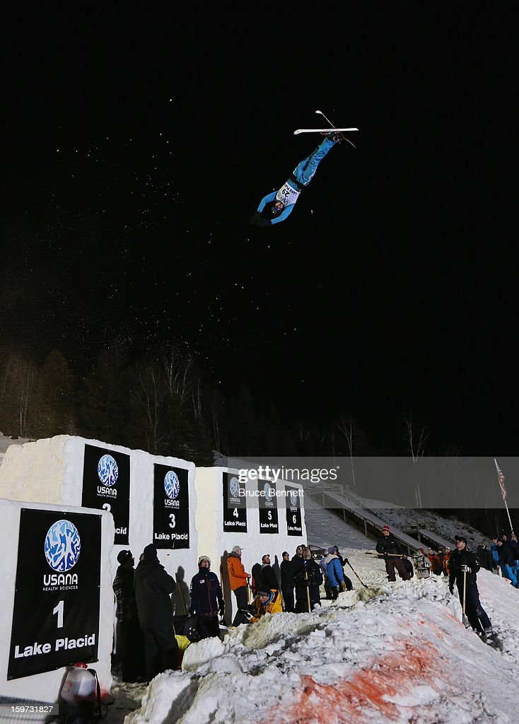 Sergei Berestovskiy #29 of Kazakhstan jumps in the USANA Freestyle World Cup aerial competition at the Lake Placid Olympic Jumping Complex on January 19, 2013 in Lake Placid, New York.