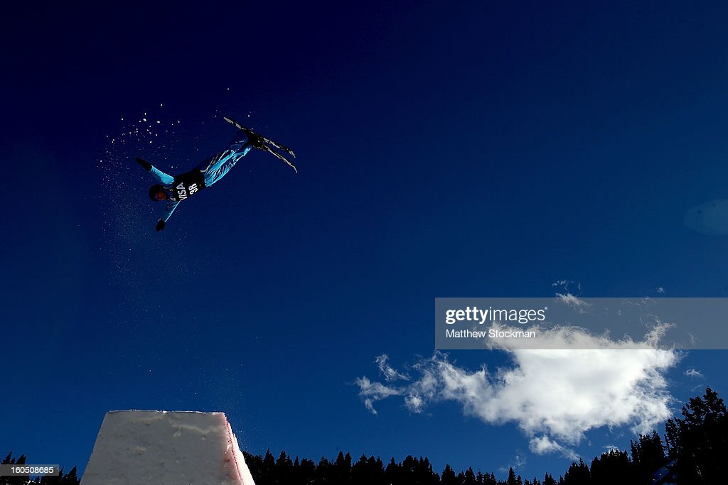 Sergei Berestovskiy #38 of kazakhstan jumps while training for the Mens Aerials during the Visa Freestyle International at Deer Valley on February 1, 2013 in Park City, Utah.
