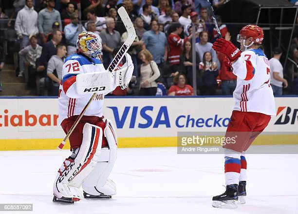 Sergei Bobrovsky and Dmitry Kulikov of Team Russia celebrate after a 43 win over Team North America during the World Cup of Hockey 2016 at Air Canada...