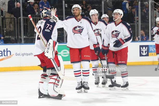Sergei Bobrovsky and the Columbus Blue Jackets celebrate after defeating the New York Rangers 52 at Madison Square Garden on February 26 2017 in New...