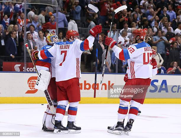 Sergei Bobrovsky Dmitry Kulikov and Artem Anisimov of Team Russia celebrate after a 43 win over Team North America during the World Cup of Hockey...