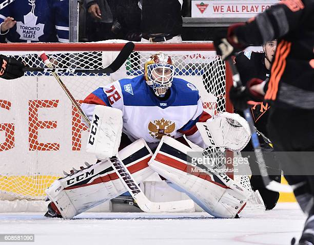 Sergei Bobrovsky of Team Russia follows the play against Team North America during the World Cup of Hockey 2016 at Air Canada Centre on September 19...