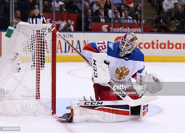 Sergei Bobrovsky of Team Russia makes a blocker save against Team North America during the World Cup of Hockey 2016 at Air Canada Centre on September...