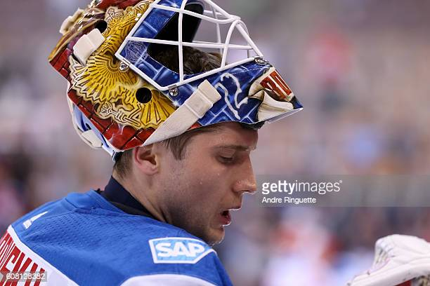 Sergei Bobrovsky of Team Russia warms up prior to the game against Team North America during the World Cup of Hockey 2016 at Air Canada Centre on...