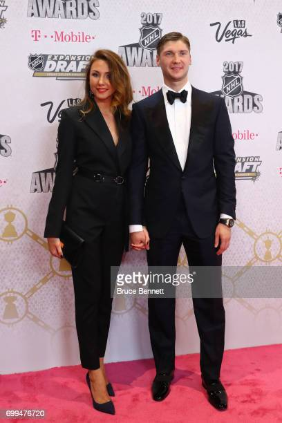 Sergei Bobrovsky of the Columbus Blue Jackets and guest attend the 2017 NHL Awards at TMobile Arena on June 21 2017 in Las Vegas Nevada