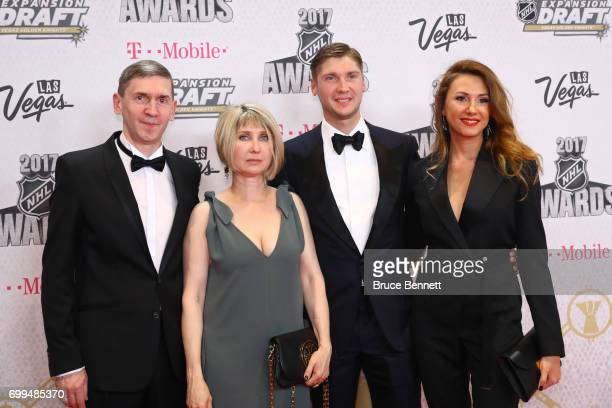 Sergei Bobrovsky of the Columbus Blue Jackets and guests attend the 2017 NHL Awards at TMobile Arena on June 21 2017 in Las Vegas Nevada