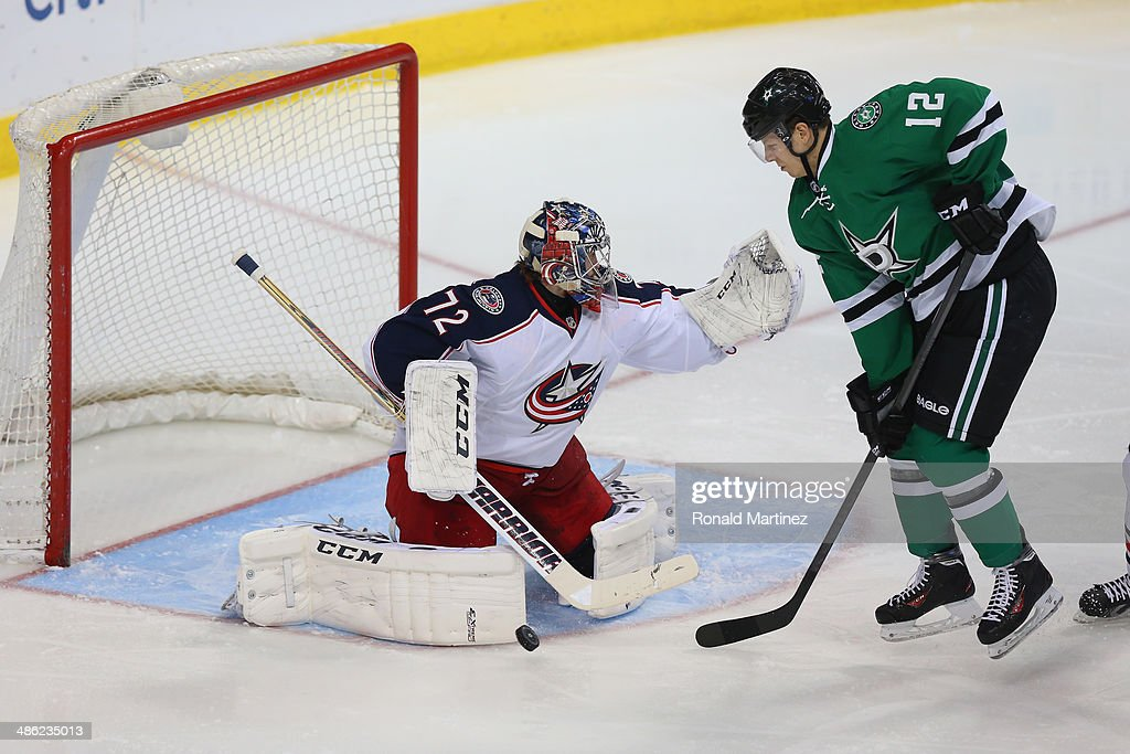 Sergei Bobrovsky #72 of the Columbus Blue Jackets at American Airlines Center on April 9, 2014 in Dallas, Texas.