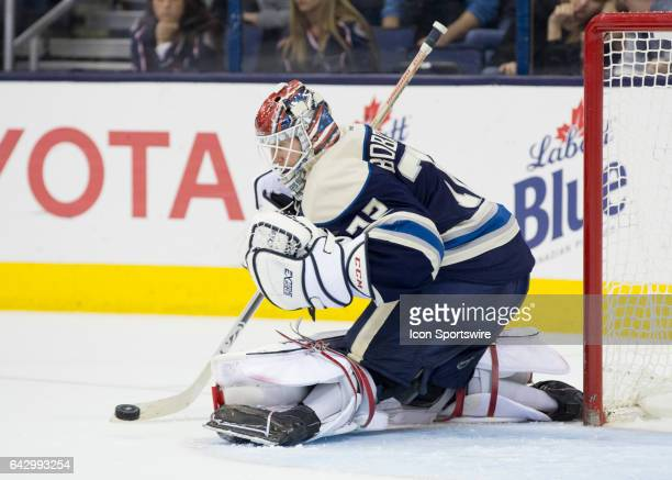 Sergei Bobrovsky of the Columbus Blue Jackets blocks a shot during the second period of the game between the Columbus Blue Jackets and the Nashville...