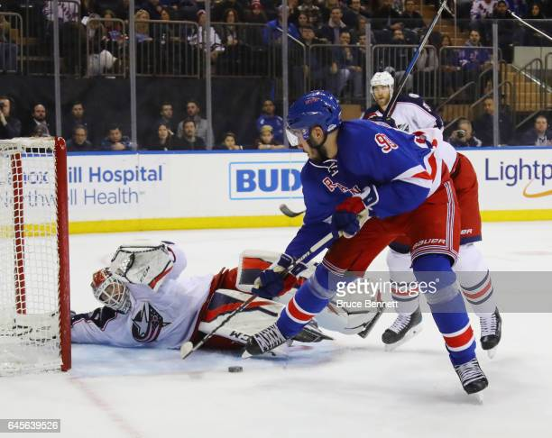 Sergei Bobrovsky of the Columbus Blue Jackets blocks the net against Mika Zibanejad of the New York Rangers at Madison Square Garden on February 26...