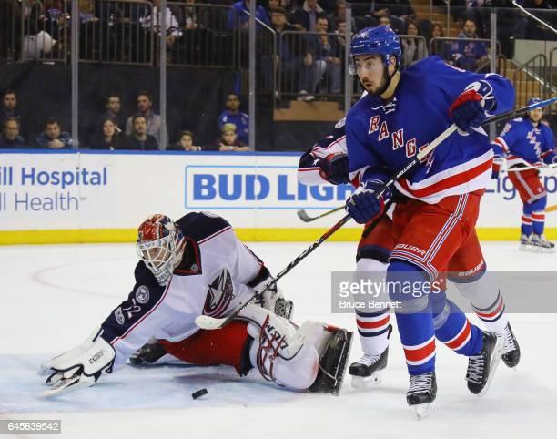 Sergei Bobrovsky of the Columbus Blue Jackets blocks the net against Mika Zibanejad of the New York Rangers at Madison Square Garden on February 26...
