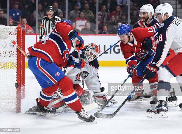 Sergei Bobrovsky of the Columbus Blue Jackets blocks the shot by Charles Hudon of the Montreal Canadiens in the NHL game at the Bell Centre on...