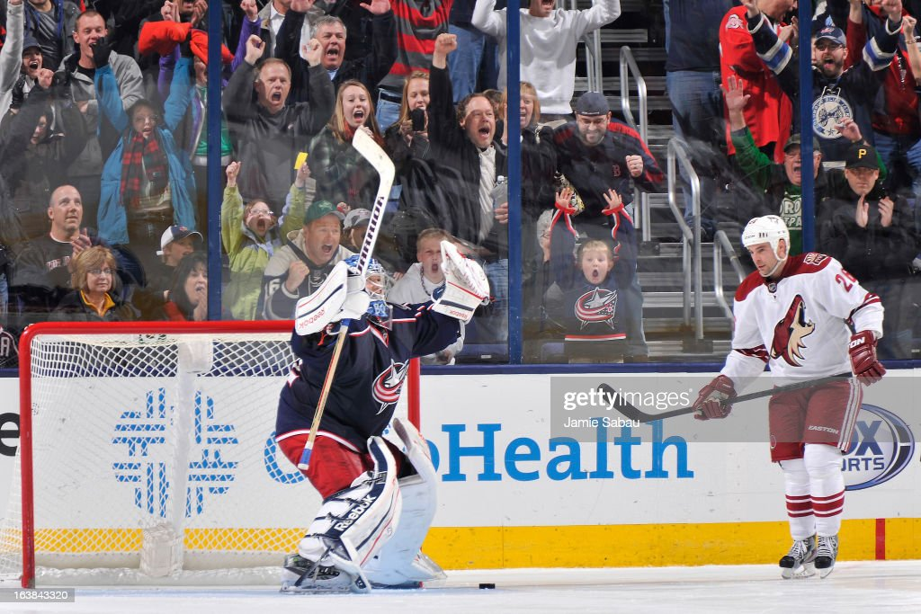 Sergei Bobrovsky #72 of the Columbus Blue Jackets celebrates a shootout win after stopping an attempt by Steve Sullivan #26 of the Phoenix Coyotes on March 16, 2013 at Nationwide Arena in Columbus, Ohio. Columbus defeated Phoenix 1-0 in a shootout.