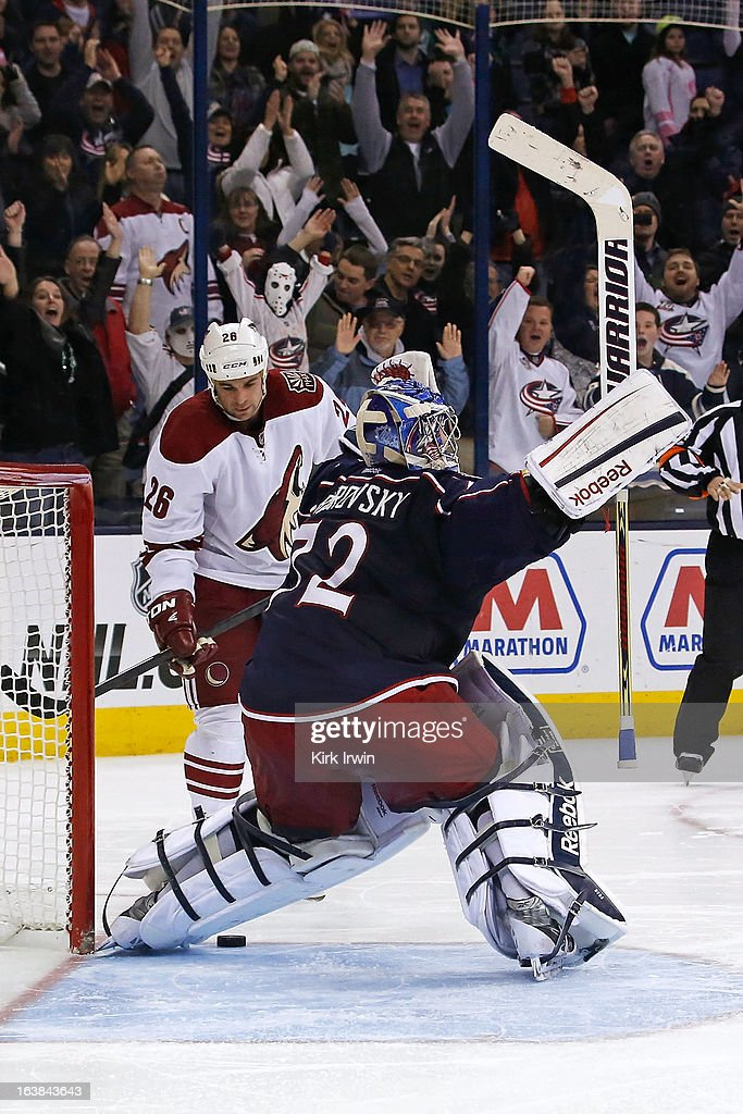 <a gi-track='captionPersonalityLinkClicked' href=/galleries/search?phrase=Sergei+Bobrovsky&family=editorial&specificpeople=4488556 ng-click='$event.stopPropagation()'>Sergei Bobrovsky</a> #72 of the Columbus Blue Jackets celebrates after stopping a shot from <a gi-track='captionPersonalityLinkClicked' href=/galleries/search?phrase=Steve+Sullivan&family=editorial&specificpeople=201723 ng-click='$event.stopPropagation()'>Steve Sullivan</a> #26 of the Phoenix Coyotes to win the game during the shootout on March 16, 2013 at Nationwide Arena in Columbus, Ohio. Bobrovsky stopped 39 shots as Columbus defeated Phoenix 1-0 in a shootout.