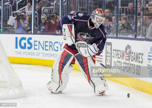 Sergei Bobrovsky of the Columbus Blue Jackets controls the puck during the first period of the game between the held at Nationwide Arena in Columbus...