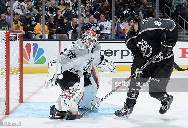 Sergei Bobrovsky of the Columbus Blue Jackets defends a shot attempt by Drew Doughty of the Los Angeles Kings during the Metropolitan Division and...