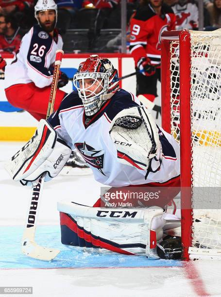 Sergei Bobrovsky of the Columbus Blue Jackets defends his net against the New Jersey Devils during the game at Prudential Center on March 19 2017 in...
