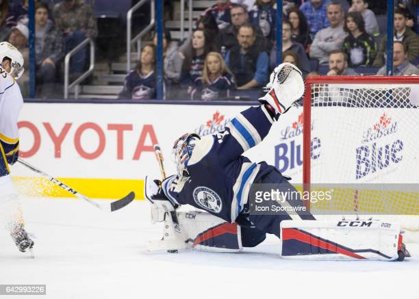 Sergei Bobrovsky of the Columbus Blue Jackets dives to make a save during the second period of the game between the Columbus Blue Jackets and the...