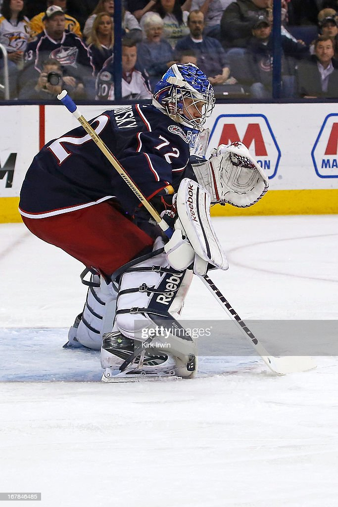 Sergei Bobrovsky #72 of the Columbus Blue Jackets follows the puck during the game against the Nashville Predators on April 27, 2013 at Nationwide Arena in Columbus, Ohio.