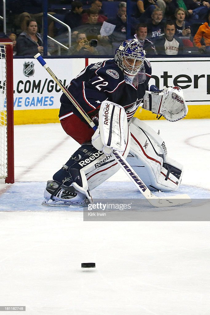 Sergei Bobrovsky #72 of the Columbus Blue Jackets follows the puck during the preseason game against the Buffalo Sabres on September, 2013 at Nationwide Arena in Columbus, Ohio.