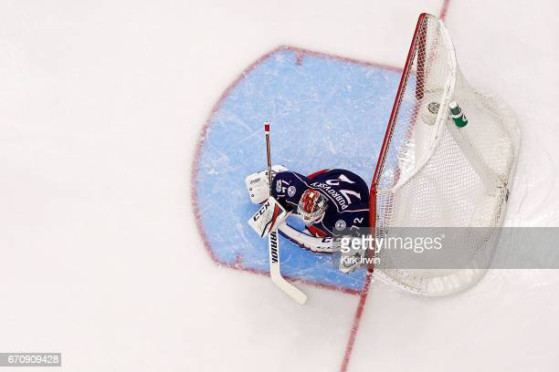 Sergei Bobrovsky of the Columbus Blue Jackets follows the puck in Game Four of the Eastern Conference First Round during the 2017 NHL Stanley Cup...
