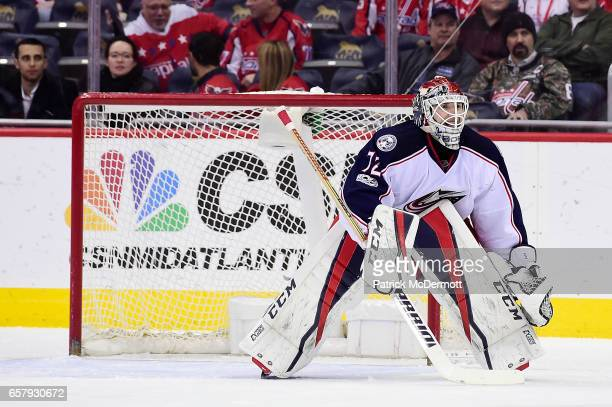 Sergei Bobrovsky of the Columbus Blue Jackets follows the puck against the Washington Capitals in the first period during an NHL game at Verizon...