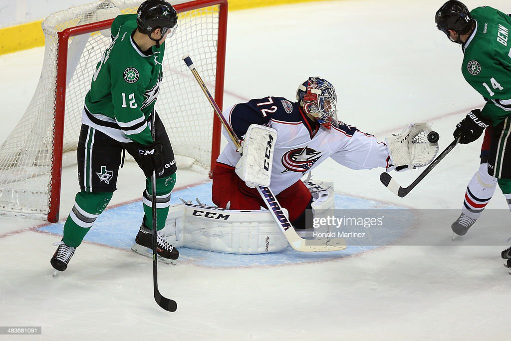 Sergei Bobrovsky #72 of the Columbus Blue Jackets in goal against the Dallas Stars in the first period at American Airlines Center on April 9, 2014 in Dallas, Texas.