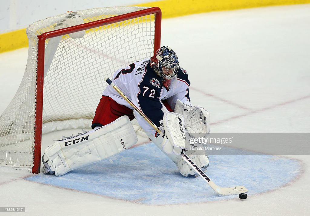 Sergei Bobrovsky #72 of the Columbus Blue Jackets in goal against the Dallas Stars in the third period at American Airlines Center on April 9, 2014 in Dallas, Texas.