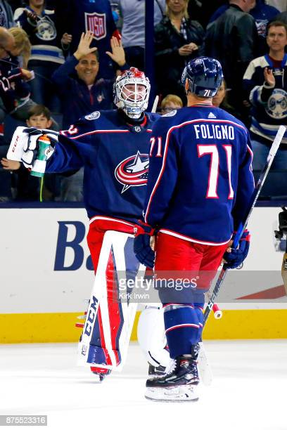 Sergei Bobrovsky of the Columbus Blue Jackets is congratulated by Nick Foligno of the Columbus Blue Jackets after defeating the New York Rangers 20...