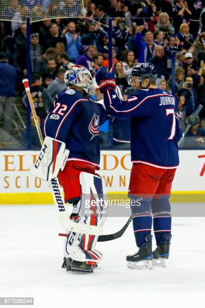 Sergei Bobrovsky of the Columbus Blue Jackets is congratulated by Jack Johnson of the Columbus Blue Jackets after defeating the New York Rangers 20...