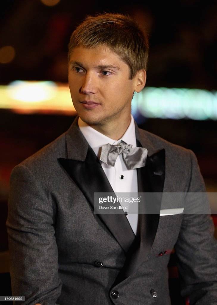 Sergei Bobrovsky of the Columbus Blue Jackets is interviewed after being presented with the Vezina Trophy for 2012-13 NHL season before Game Two of the 2013 Stanley Cup Final between the Chicago Blackhawks and the Boston Bruins at the United Center on June 15, 2013 in Chicago, Illinois.
