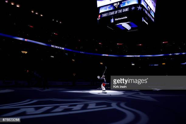 Sergei Bobrovsky of the Columbus Blue Jackets is recognized as the first star of the game after defeating the New York Rangers 20 on November 17 2017...